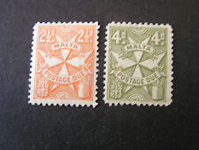 *MALTA, SCOTT # J15+J17(2), 21/2p+4p. VALUES POSTAGE DUE 1925  ISSUE MH/MNG