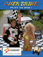 Over Drive Arcade Flyer Original Nos Konami Video Game Art Auto Race Cars 1990