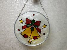 Vintage Suncatcher Stained Glass Christmas Bells Decorations Handmade Handpaint
