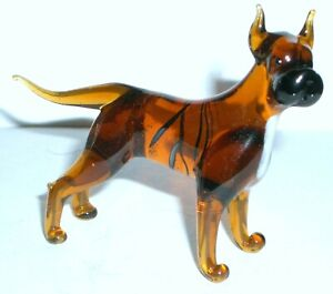 """HAND BLOWN """"MURANO"""" GLASS COLLECTABLE  AMERICAN PIT BULL TERRIER DOG  FIGURINE"""