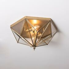 American Style Glass Shade geometric Flush Mount E14 Antique Brass Ceiling Lamp