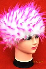 WHITE PINK Winter Faux Fur Funky fluffy Russian Cossack Style Hat