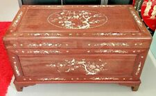Vintage Antique Rosewood Treasure Chest Trunk Coffer Mother Of Pearl Blanket Box