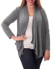 T49 New Grey Ladies Plus Size 16/18 Casual Warm Spring Open Knit Cardigan Tops