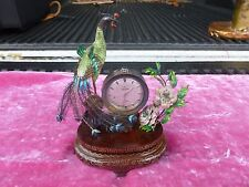 CHINESE ENAMEL AND SILVER BIRD AND FLOWER CLOCK WORKING