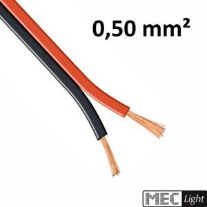 1-100m LED Kabel Zwillingslitze 2x 0,50mm² rot/schwarz 2 adrig Litze 100% Kupfer
