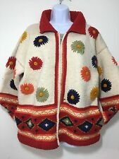 World of Wool Sweater L XL Heavy Hand Knit Ecuador Flowers Red White Geometric