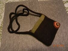 Chuckleberries - Sm - 100% Boiled Wool Brown Art Deco SHOULDER BAG