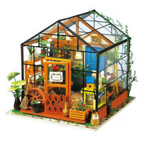 DIY 3D House Model Kit Greenhouse Miniature LED Light Dolls House Build