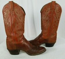 JUSTIN BOOTS - Western Cowboy Snakeskin Chestnut Brown Boots Sz 8 D