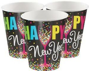 8 Pack Paper Happy New Year's Eve Celebration Cups Event Buffet Party Tableware