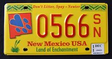 "NEW MEXICO "" PETS - SPAY - NEUTER "" Enchantment ""  NM SPECIALTY License Plate"