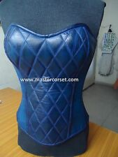 Blue genuine leather corset waxed vintage steel boning Leder Korsett lederen