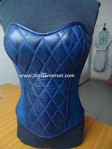 Blue genuine leather corset waxed vintage steel boning Leder Korsett lederen