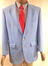 Stafford Men's Blazer Baby Blue Two Button Sport Coat  Jacket 42L Gold Buttons