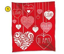 + COPERTA IN MORBIDO PLAID PILE 100x150  TI AMO LOVE YOU E ME S. VALENTINO FOREV