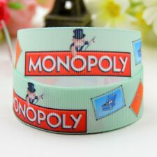 Monopoly printed grosgrain Ribbon 7/8 in width sold by the yard