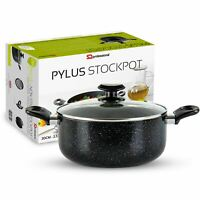 24cm Non Stick Stockpot Casserole Cooking Pan Induction Base Marble Effect Black