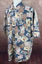 Columbia Tiki Short Sleeve Button Front 100% Cotton Blue Brown Shirt Men's XL