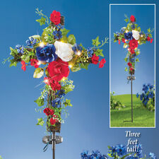 Solar Lighted Led Patriotic Floral Memorial Cross Cemetery Garden Yard Stake