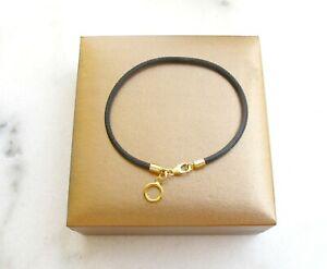 14 k solid gold black leather cord charm bracelet bangle ring men women string