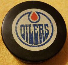 HOLE DRILLED1980s EDMONTON OILERS  INGLASCO VINTAGE CANADA NHL HOCKEY GAME PUCK