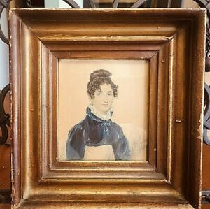 Antique English Folk Art Portrait Miniature Painting of Lady Signed & Dated 1819