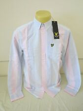 "Lyle & Scott Vintage a Righe Camicia Oxford Candy Rosa Verde Blu Bianco M 42"" NUOVO"