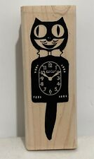 Paula Best CAT CLOCK Felix Vintage Time Wood Rubber Stamp Rare