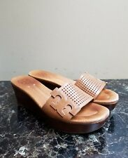 a14bfc666c1  295 TORY BURCH Tan Platform Wedge Slides Sandals Shoes Leather Size 8M