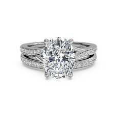 14K White Gold Band Set Valentine's Gift 1.50 Ct Oval Cut Natural Diamond Rings