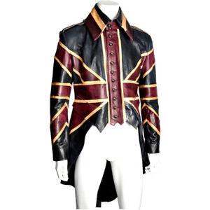 Impero London Iconic Union Jack Mens Leather Tailcoat Jacket Made in London
