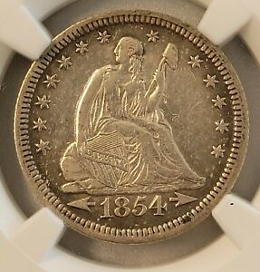 1854 Arrows Seated Liberty Quarter (XF 40) NGC stock's 57th st. collection