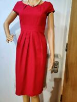 NEW LK BENNETT PLETTED FITTED DRESS UK 6 US 2  RED 64%VISCOSE 36%COTTON RED
