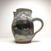 """Pitcher Jug Pottery Handle Spout Abstract Earth tones Glaze Signed 6.75"""""""