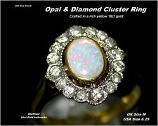 Opal & Diamond Cluster Ring size M Birmingham 18ct Gold HM Old New Stock c2007