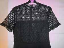 ZARA Black Lace Short Sleeve High Neck Crochet Skater Dress Swing Flared S 8 10