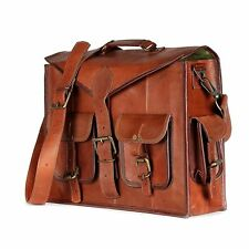 """18"""" Men Genuine Vintage Leather Messenger Business Laptop Briefcase Satchel Bag"""