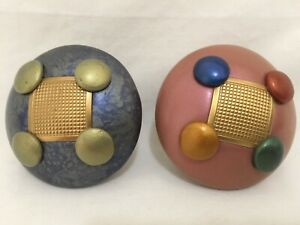 Vintage! Art Blue and Pink Painted Door Knobs set of 2 Never Used!
