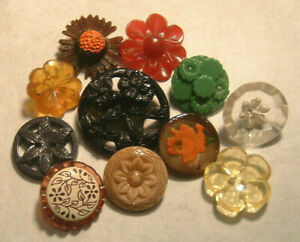 11 Vintage Flower Buttons Plastic Glass Reverse Carved Lucite Abalone Shell