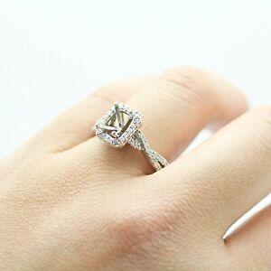 14K WHITE GOLD RADIANT HALO DIAMONDS SEMI-MOUNT ENGAGEMENT RING 8US