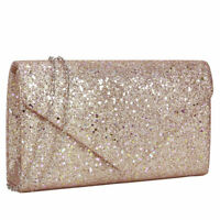 Women Glitter Frosted Evening wallet  Clutch Purse With Removable Chain Strap