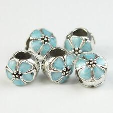 5pcs Enamel Flower Silver Big Hole Spacer Charm Beads 10mm for European Bracelet
