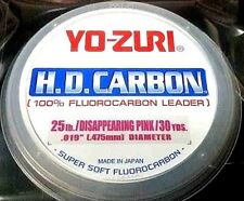 Yo-Zuri HD Carbon Fluorocarbon Leader 25 lb 30 yds  disappearing pink spools