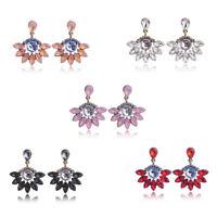 Elegant Women Crystal Rhinestone Flower Drop Dangle Earrings Ear Stud Jewelry