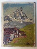 Tableau Ancien Montagne Chalet Alpes Huile signée