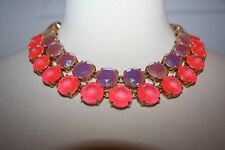 J.CREW LAYERED CRYSTAL NECKLACE NEON HIBISCUS F5153