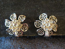 Vtg Clear Rhinestone Cluster Ctr Flower SB Earrings Open Work Silver Tone Petals