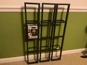 IKEA Lerberg Wall Mount Metal Shelf Rack CD DVD Blu Ray Funko Pop Lot of 3 Black