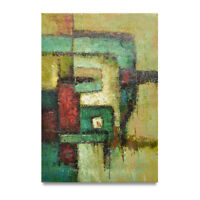 NY Art - Large Green & Red Modern Abstract 24x36 Fine Art Oil Painting on Canvas